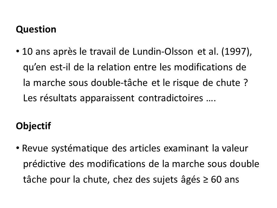 Question 10 ans après le travail de Lundin-Olsson et al. (1997), qu'en est-il de la relation entre les modifications de.