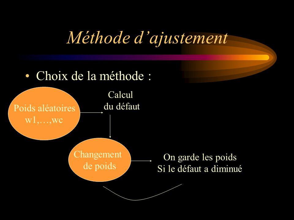Méthode d'ajustement Choix de la méthode : Calcul Poids aléatoires