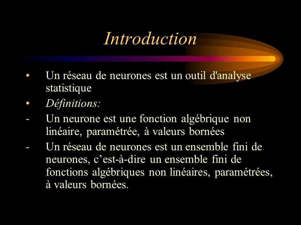 Introduction Un réseau de neurones est un outil d analyse statistique