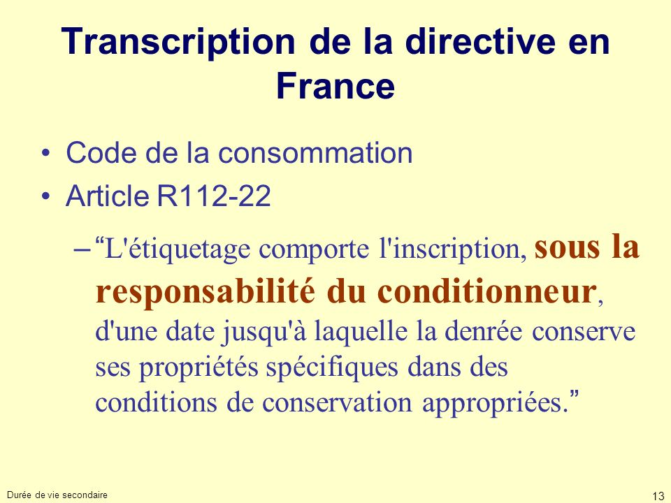 Transcription de la directive en France