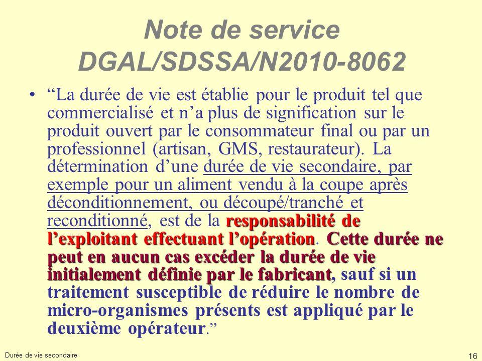 Note de service DGAL/SDSSA/N2010-8062