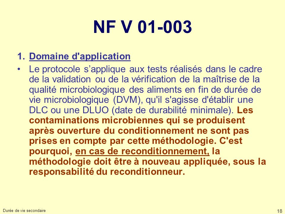 NF V 01-003 Domaine d application
