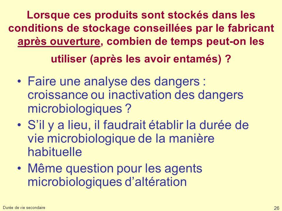Même question pour les agents microbiologiques d'altération