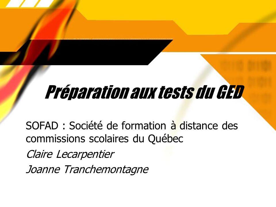 Préparation aux tests du GED