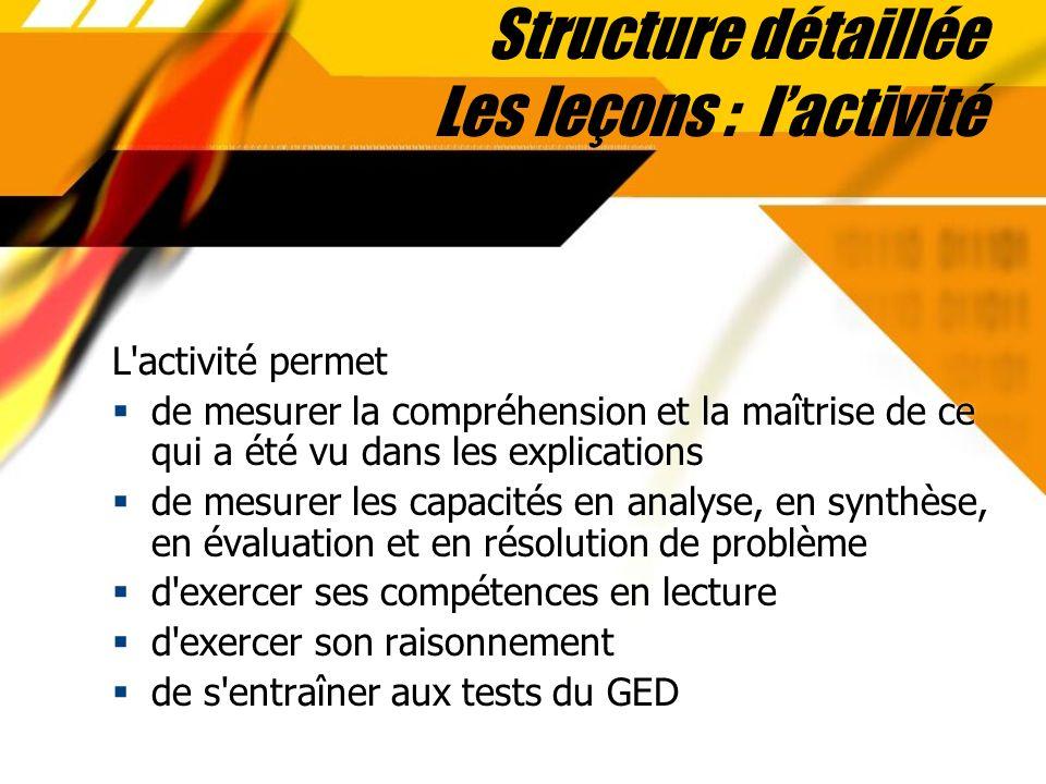 Structure détaillée Les leçons : l'activité