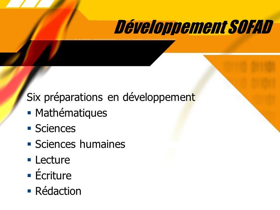 Développement SOFAD Six préparations en développement Mathématiques