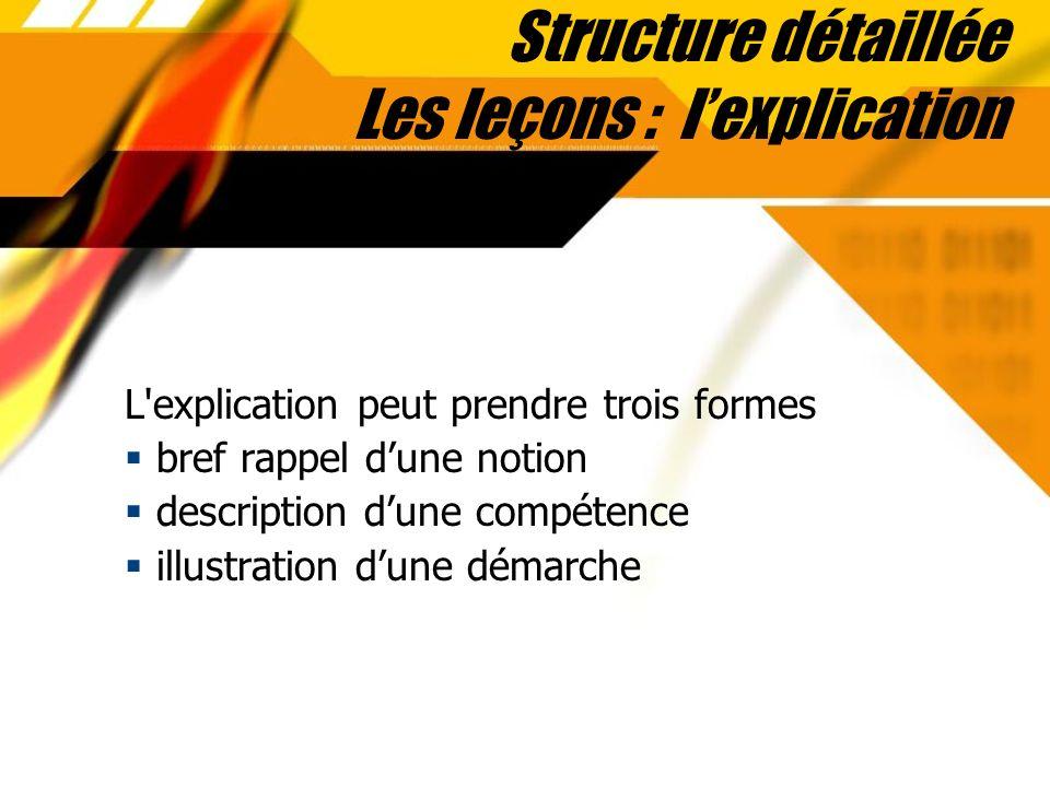 Structure détaillée Les leçons : l'explication