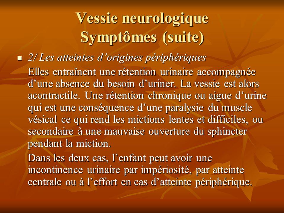 Vessie neurologique Symptômes (suite)