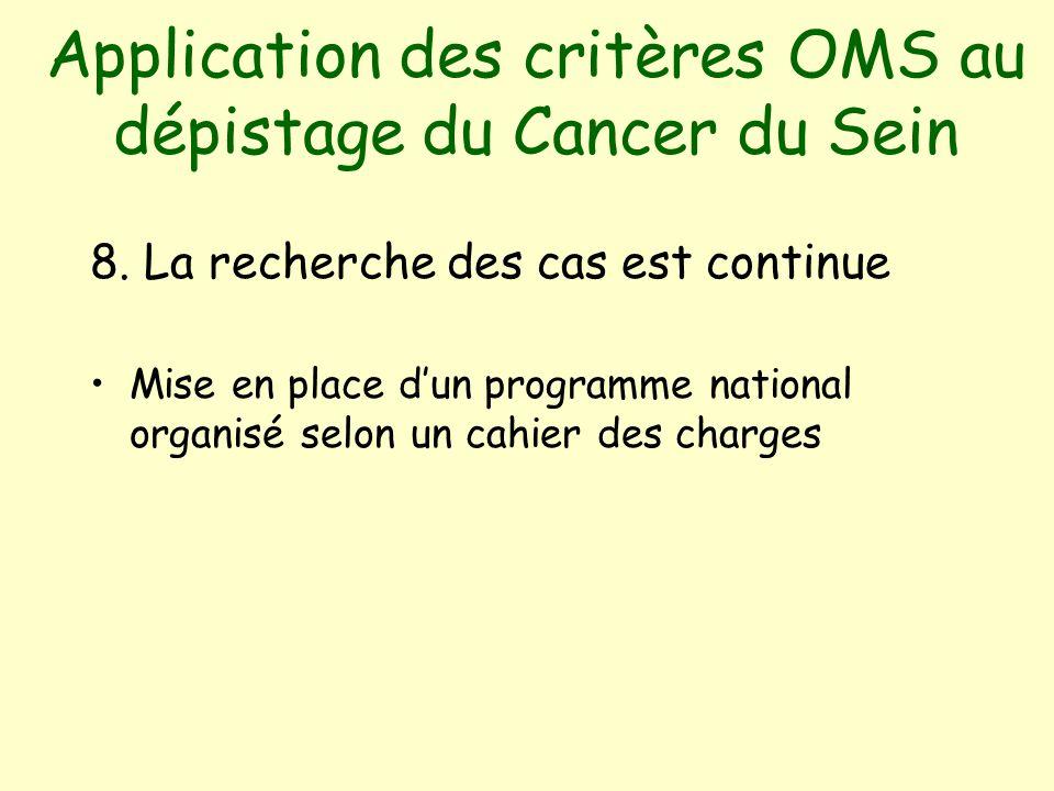 Application des critères OMS au dépistage du Cancer du Sein