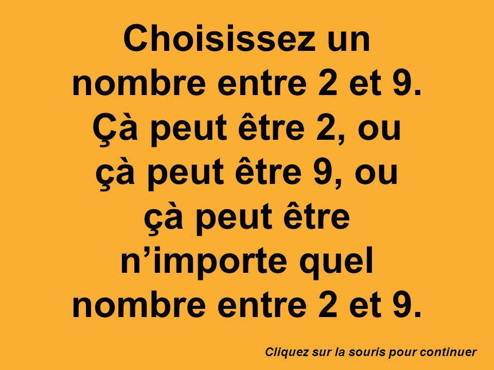 Choisissez un nombre entre 2 et 9