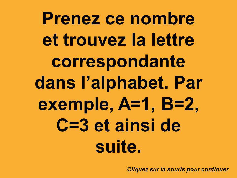 Prenez ce nombre et trouvez la lettre correspondante dans l'alphabet