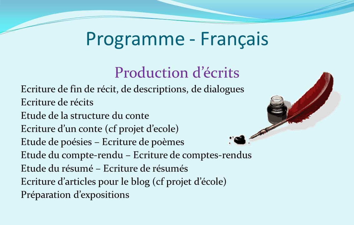 Programme - Français Production d'écrits
