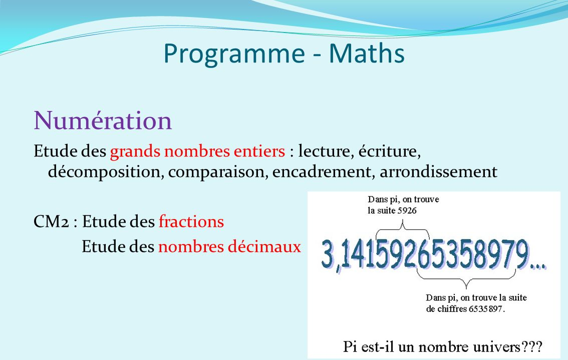 Programme - Maths Numération