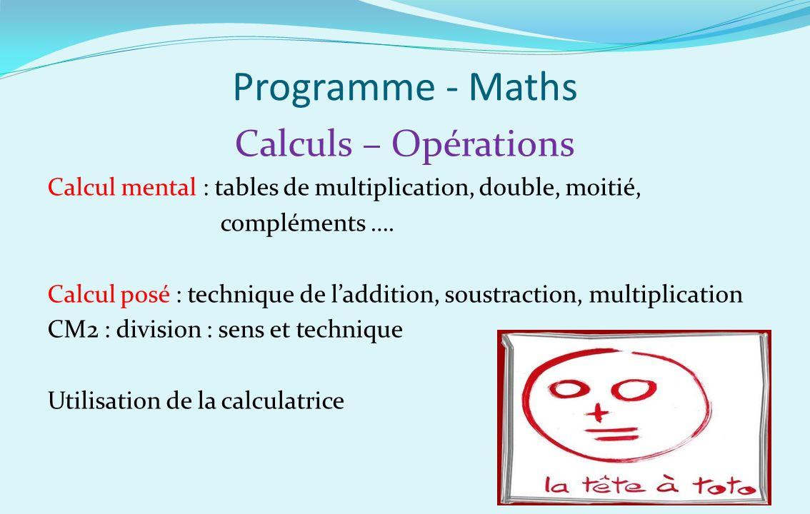 Programme - Maths Calculs – Opérations