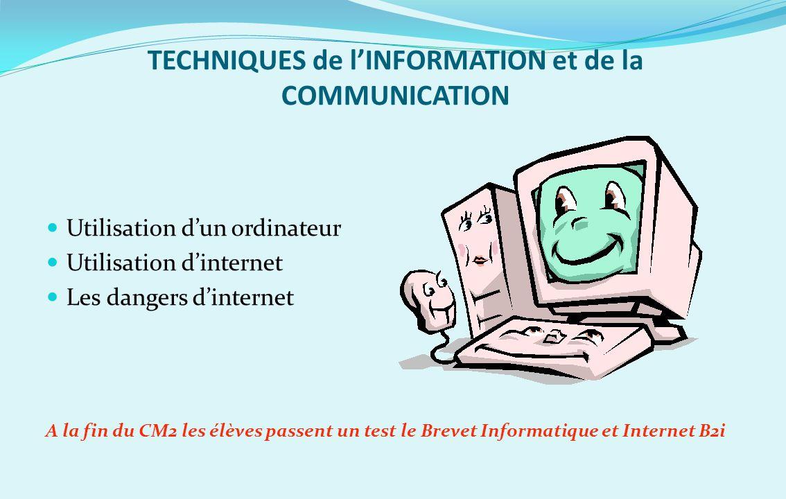 TECHNIQUES de l'INFORMATION et de la COMMUNICATION