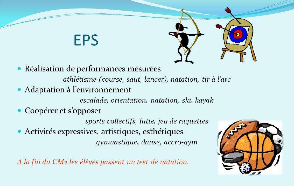 EPS Réalisation de performances mesurées Adaptation à l'environnement