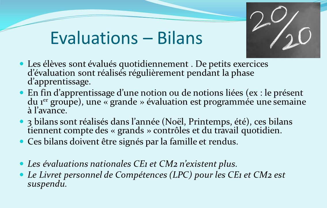 Evaluations – Bilans