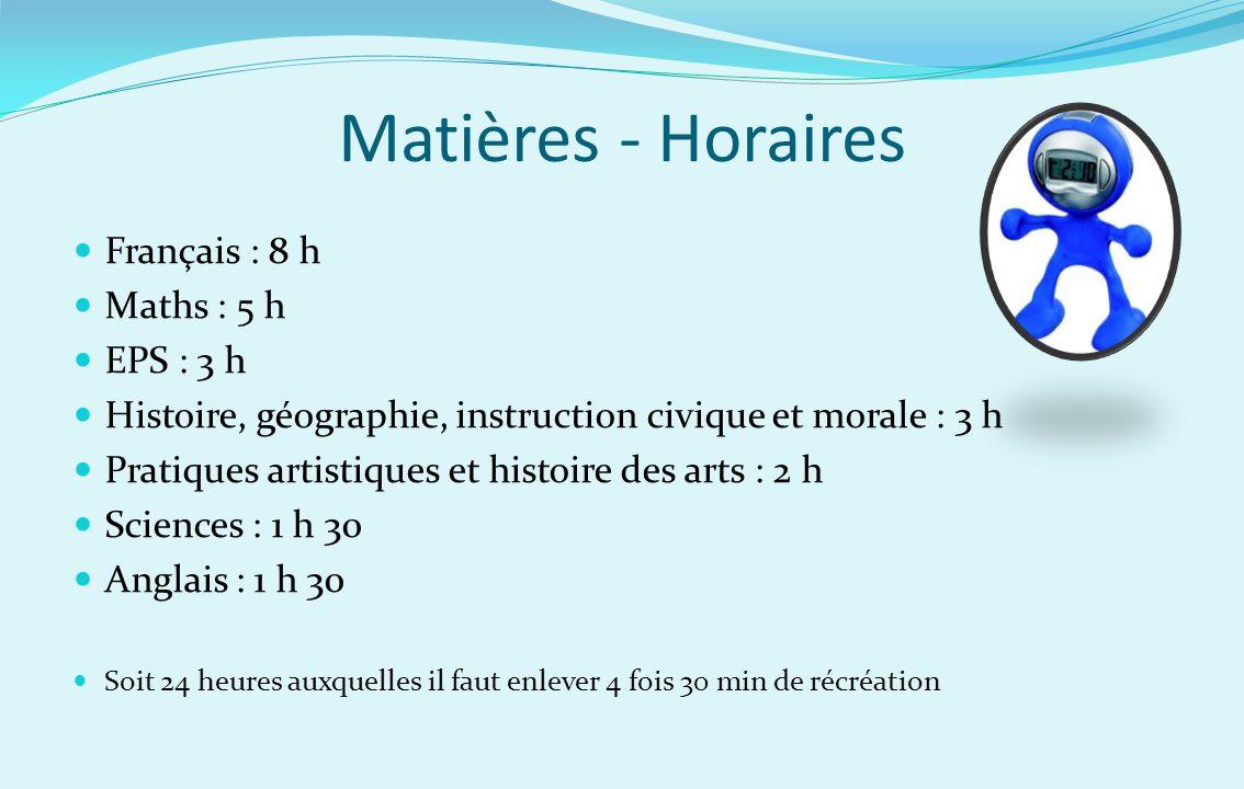 Matières - Horaires Français : 8 h Maths : 5 h EPS : 3 h