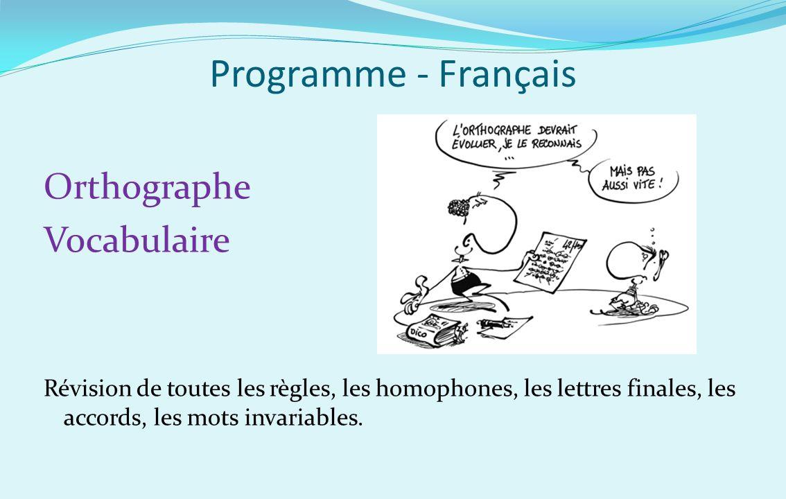 Programme - Français Orthographe Vocabulaire