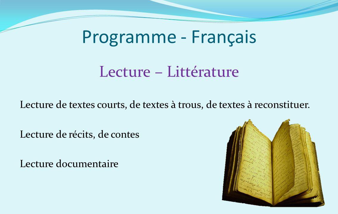 Programme - Français Lecture – Littérature