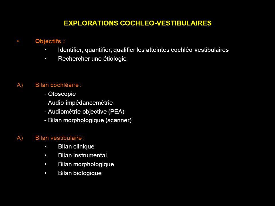 EXPLORATIONS COCHLEO-VESTIBULAIRES