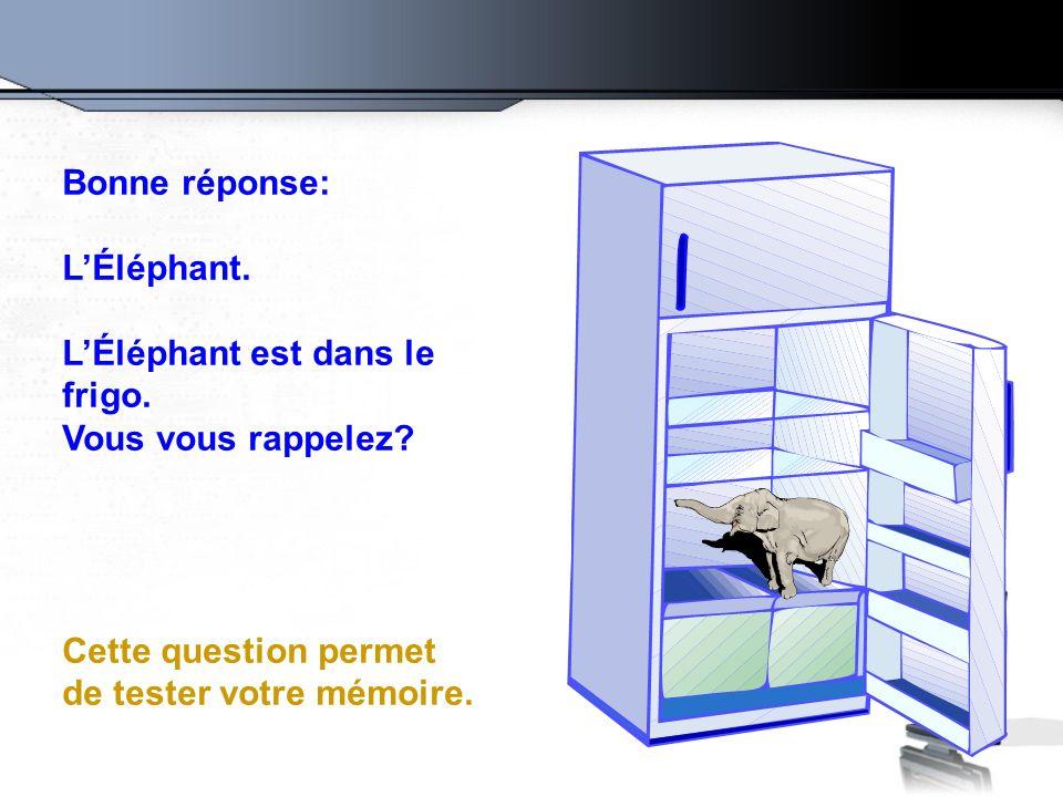 Bonne réponse: L'Éléphant. L'Éléphant est dans le frigo.