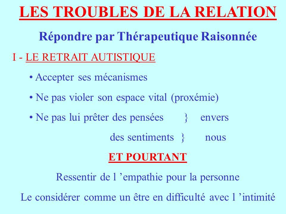 LES TROUBLES DE LA RELATION Répondre par Thérapeutique Raisonnée