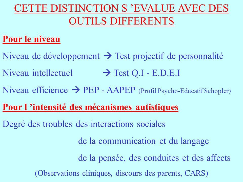 CETTE DISTINCTION S 'EVALUE AVEC DES OUTILS DIFFERENTS