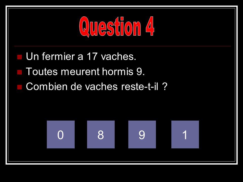 Question 4 8 9 1 Un fermier a 17 vaches. Toutes meurent hormis 9.