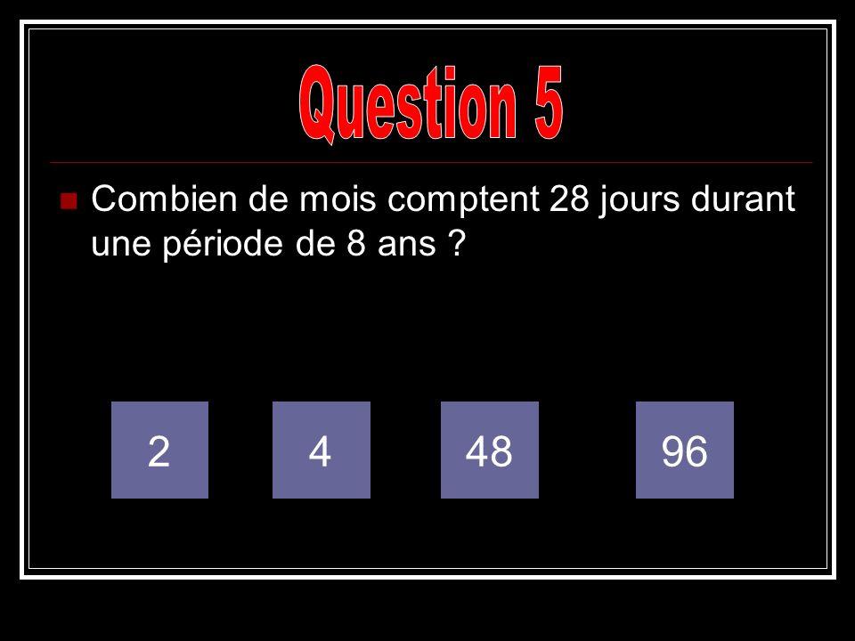 Question 5 Combien de mois comptent 28 jours durant une période de 8 ans 2 4 48 96
