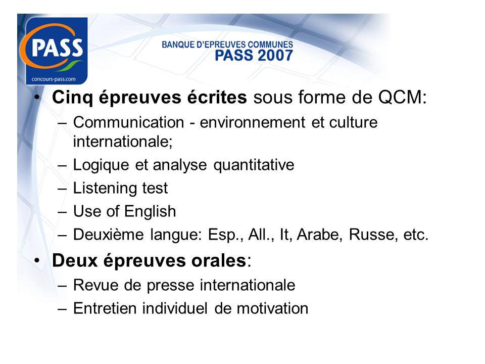 Cinq épreuves écrites sous forme de QCM: