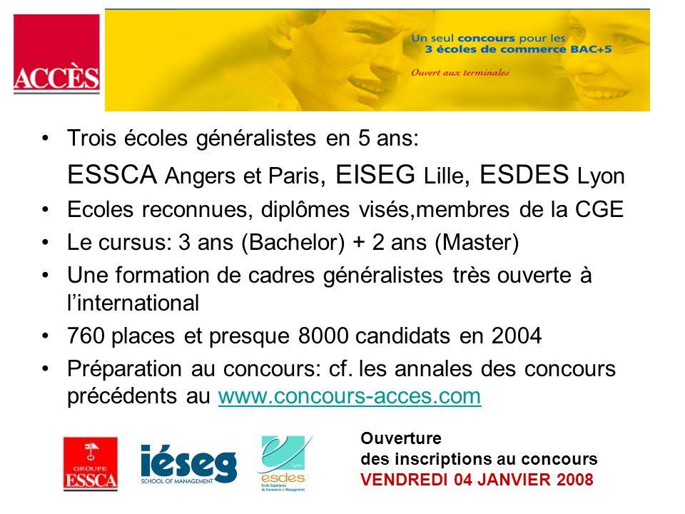 ESSCA Angers et Paris, EISEG Lille, ESDES Lyon