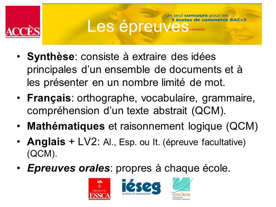 Les épreuves Synthèse: consiste à extraire des idées principales d'un ensemble de documents et à les présenter en un nombre limité de mot.