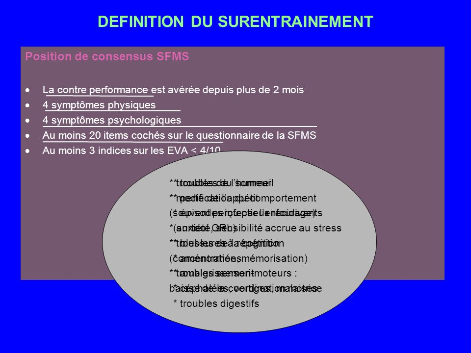 DEFINITION DU SURENTRAINEMENT