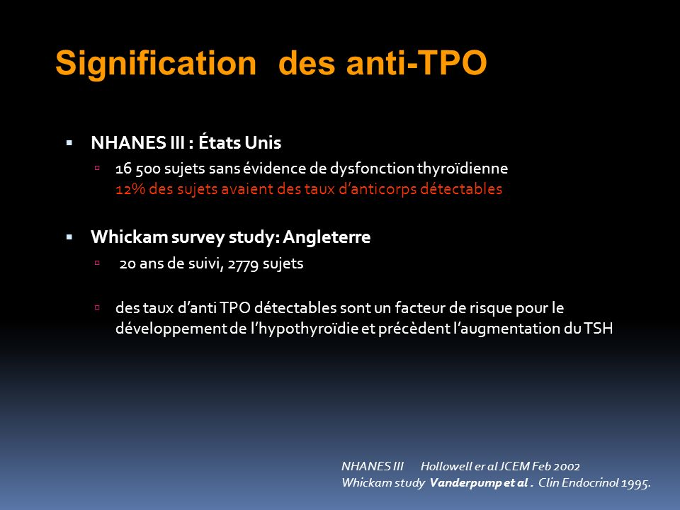 Signification des anti-TPO