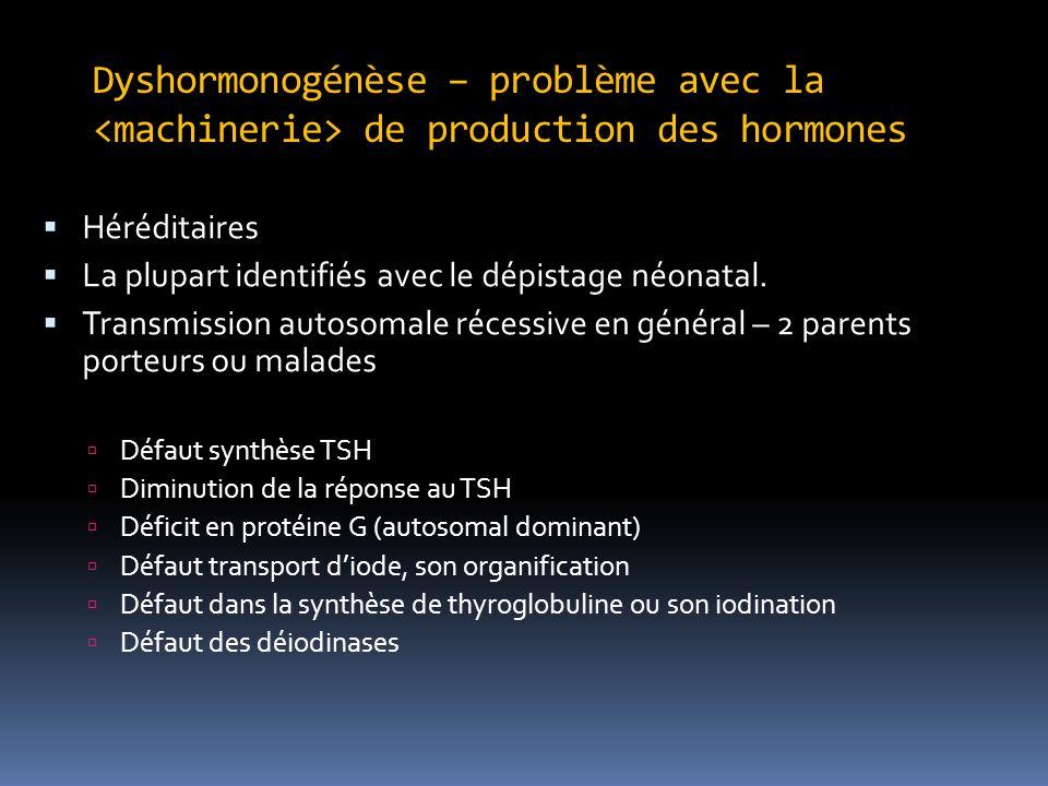Dyshormonogénèse – problème avec la <machinerie> de production des hormones