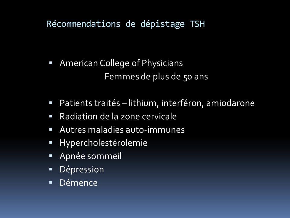 Récommendations de dépistage TSH