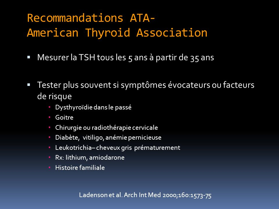 Recommandations ATA- American Thyroid Association