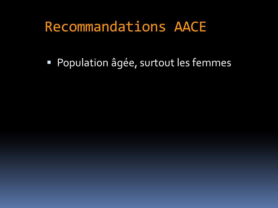 Recommandations AACE Population âgée, surtout les femmes