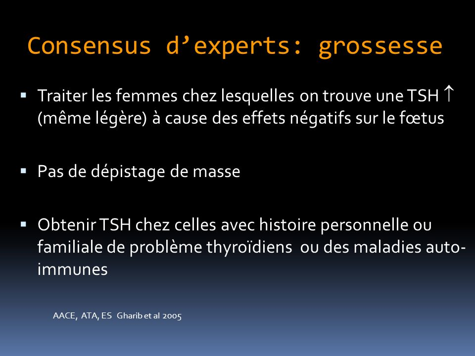 Consensus d'experts: grossesse