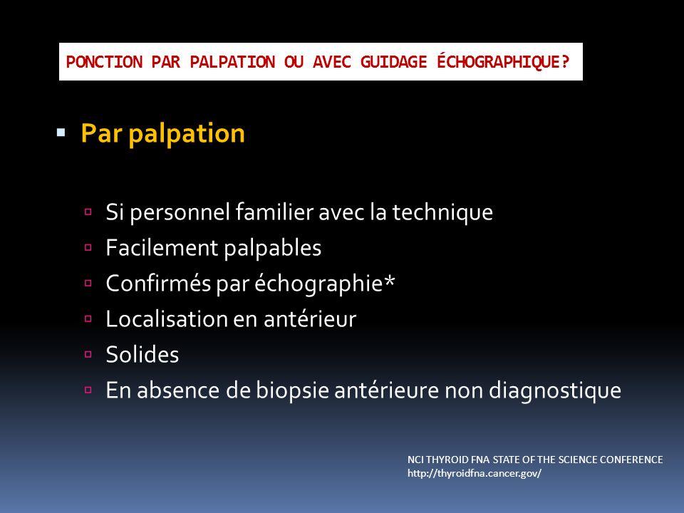 PONCTION PAR PALPATION OU AVEC GUIDAGE ÉCHOGRAPHIQUE