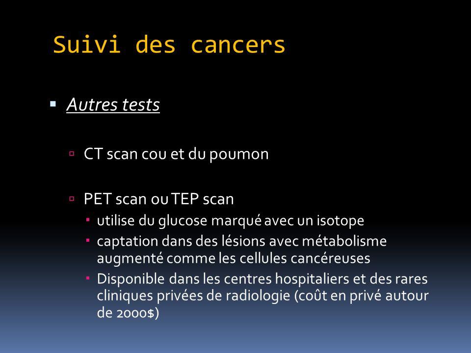 Suivi des cancers Autres tests CT scan cou et du poumon