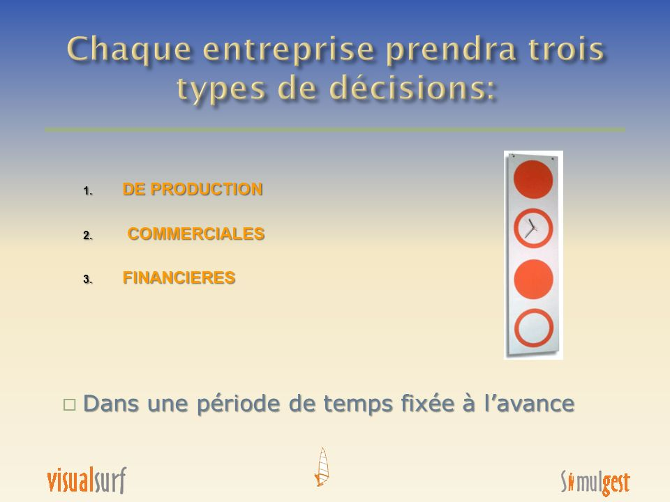 Chaque entreprise prendra trois types de décisions: