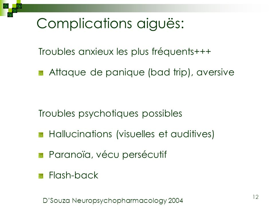 Complications aiguës: