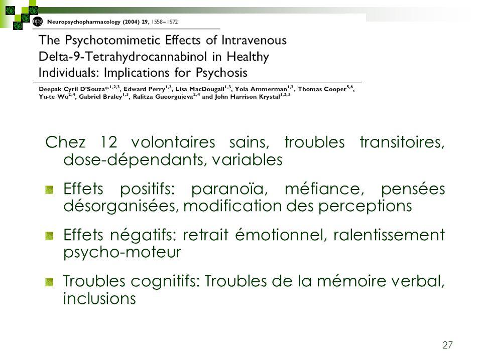 Chez 12 volontaires sains, troubles transitoires, dose-dépendants, variables