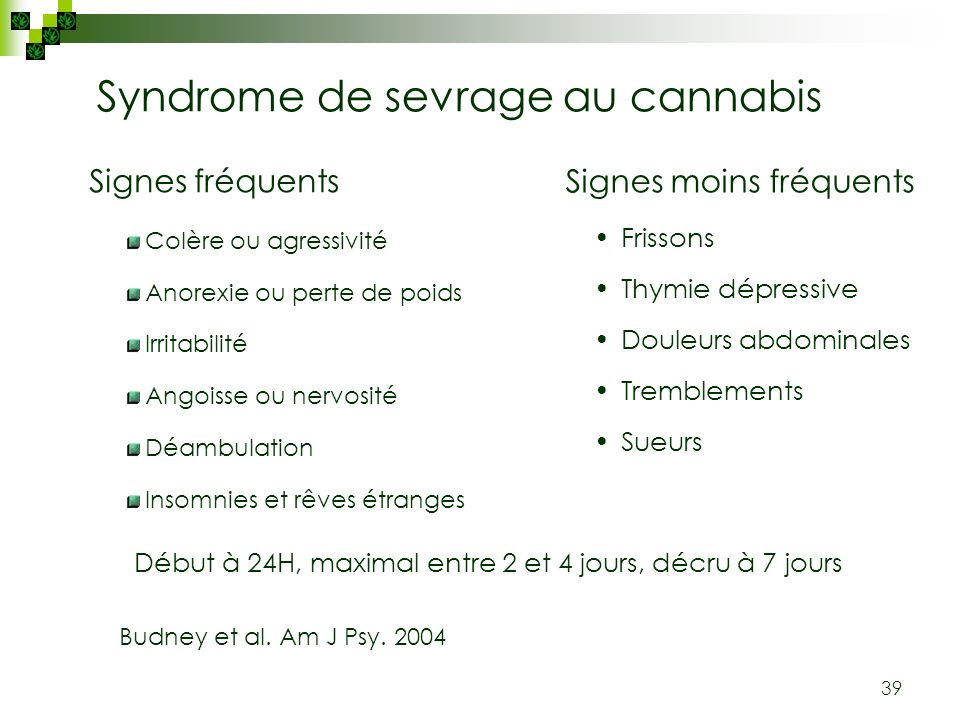 Syndrome de sevrage au cannabis