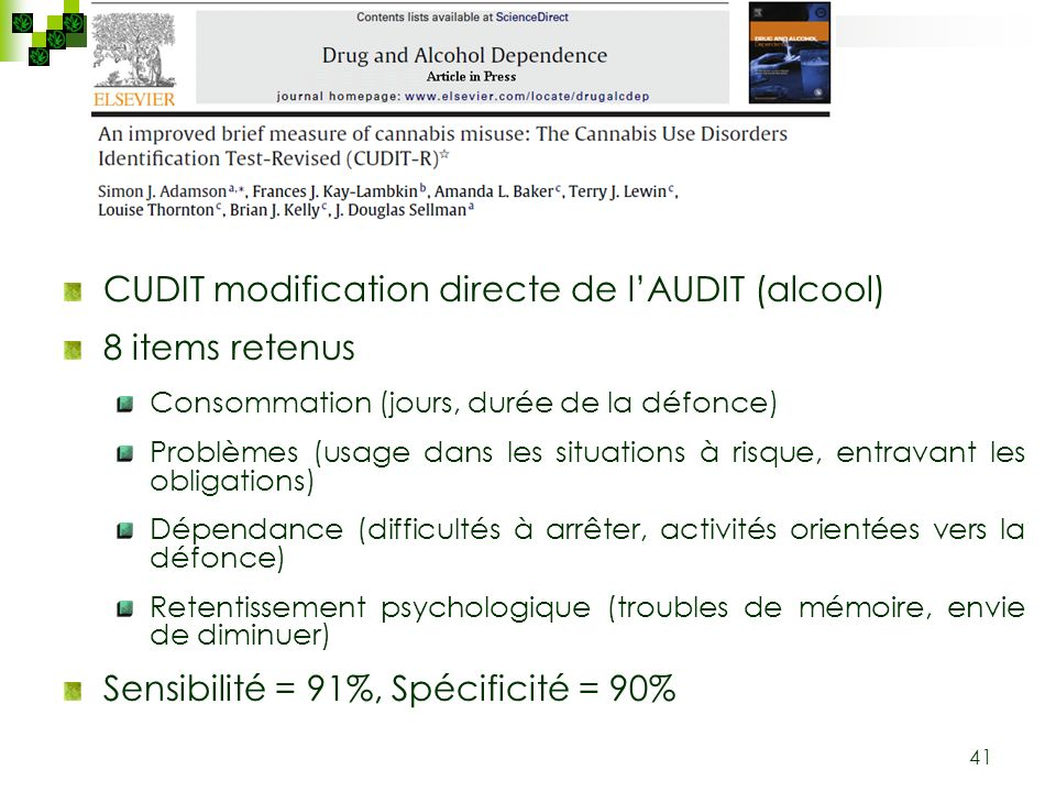 CUDIT modification directe de l'AUDIT (alcool) 8 items retenus