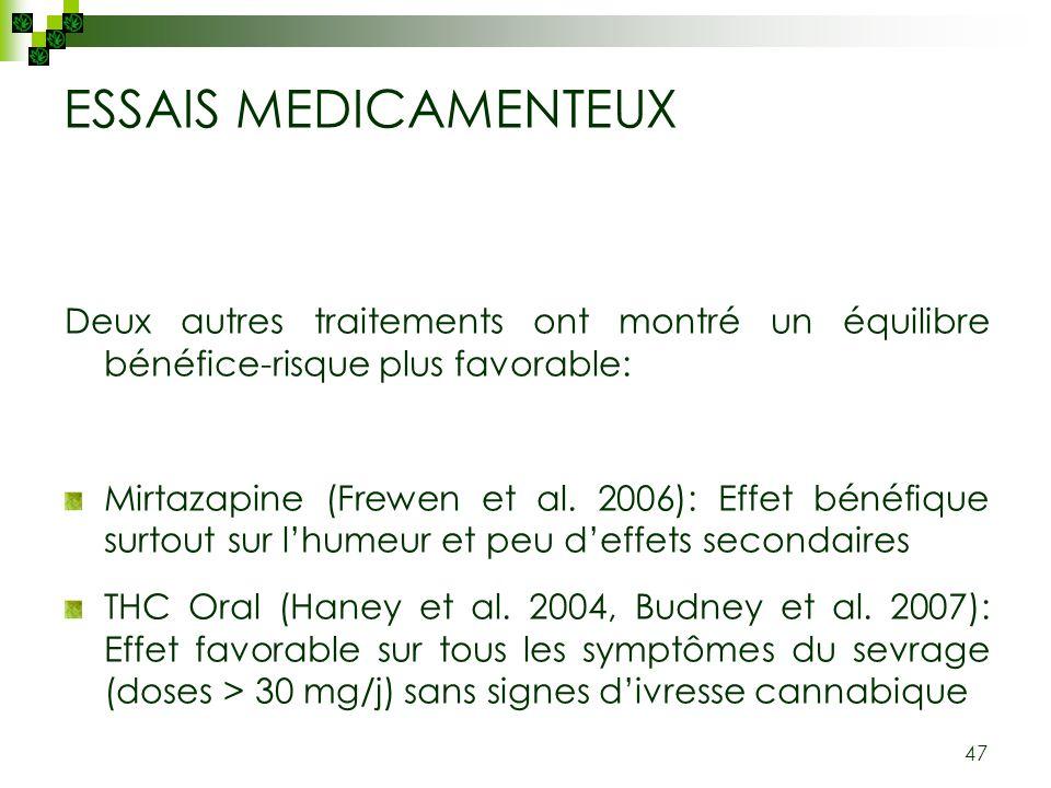 ESSAIS MEDICAMENTEUX Deux autres traitements ont montré un équilibre bénéfice-risque plus favorable: