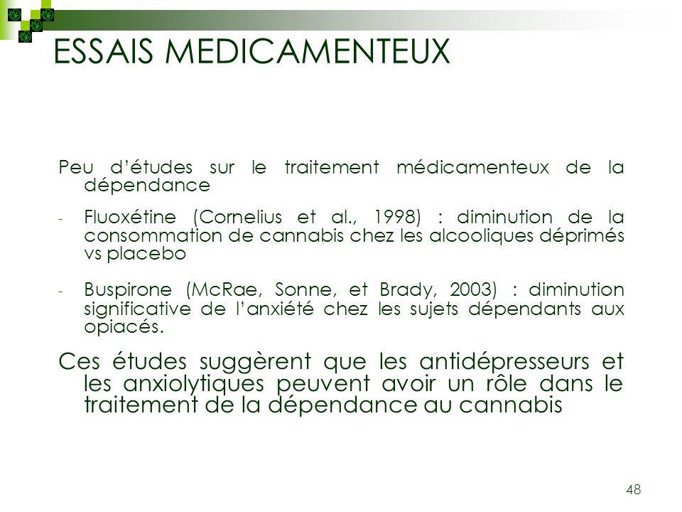 ESSAIS MEDICAMENTEUX Peu d'études sur le traitement médicamenteux de la dépendance.