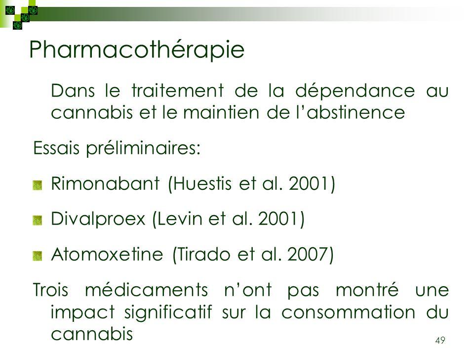 Pharmacothérapie Dans le traitement de la dépendance au cannabis et le maintien de l'abstinence. Essais préliminaires: